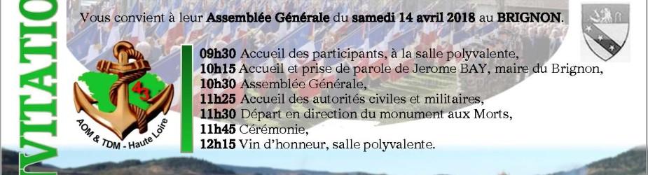 ASSEMBLEE GENERALE du 14 avril 2018 au Brignon