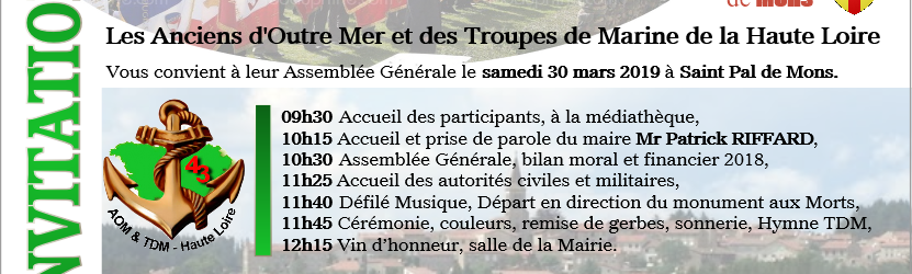 Assemblée Générale AOM TDM 43 à Saint Pal de Mons le 30 mars 2019